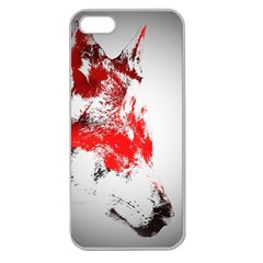 Red Black Wolf Stamp Background Apple Seamless Iphone 5 Case (clear)