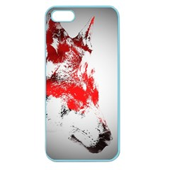 Red Black Wolf Stamp Background Apple Seamless Iphone 5 Case (color)