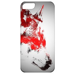 Red Black Wolf Stamp Background Apple iPhone 5 Classic Hardshell Case
