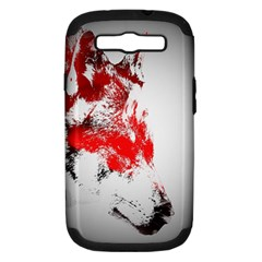 Red Black Wolf Stamp Background Samsung Galaxy S Iii Hardshell Case (pc+silicone)