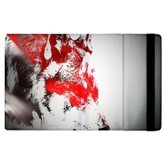 Red Black Wolf Stamp Background Apple iPad 2 Flip Case