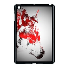 Red Black Wolf Stamp Background Apple Ipad Mini Case (black)