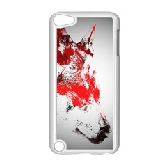 Red Black Wolf Stamp Background Apple Ipod Touch 5 Case (white)