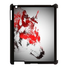 Red Black Wolf Stamp Background Apple Ipad 3/4 Case (black)