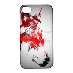 Red Black Wolf Stamp Background Apple Iphone 4/4s Hardshell Case With Stand