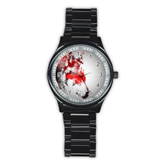 Red Black Wolf Stamp Background Stainless Steel Round Watch