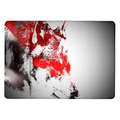 Red Black Wolf Stamp Background Samsung Galaxy Tab 10 1  P7500 Flip Case