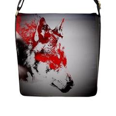 Red Black Wolf Stamp Background Flap Messenger Bag (L)