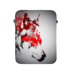 Red Black Wolf Stamp Background Apple Ipad 2/3/4 Protective Soft Cases