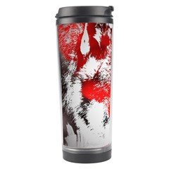 Red Black Wolf Stamp Background Travel Tumbler