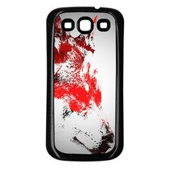 Red Black Wolf Stamp Background Samsung Galaxy S3 Back Case (black)