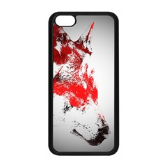 Red Black Wolf Stamp Background Apple Iphone 5c Seamless Case (black)