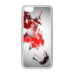 Red Black Wolf Stamp Background Apple iPhone 5C Seamless Case (White)