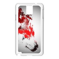 Red Black Wolf Stamp Background Samsung Galaxy Note 3 N9005 Case (white)