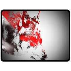 Red Black Wolf Stamp Background Double Sided Fleece Blanket (Large)