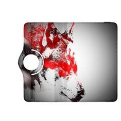 Red Black Wolf Stamp Background Kindle Fire HDX 8.9  Flip 360 Case