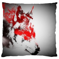 Red Black Wolf Stamp Background Large Flano Cushion Case (one Side)
