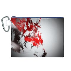 Red Black Wolf Stamp Background Canvas Cosmetic Bag (xl)