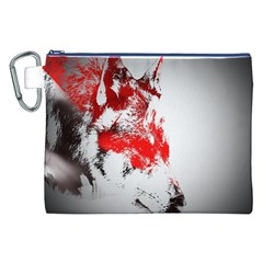 Red Black Wolf Stamp Background Canvas Cosmetic Bag (xxl)