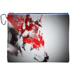 Red Black Wolf Stamp Background Canvas Cosmetic Bag (xxxl)