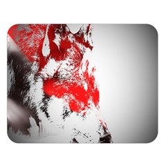 Red Black Wolf Stamp Background Double Sided Flano Blanket (Large)