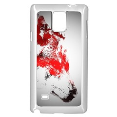 Red Black Wolf Stamp Background Samsung Galaxy Note 4 Case (White)