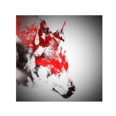 Red Black Wolf Stamp Background Small Satin Scarf (square)