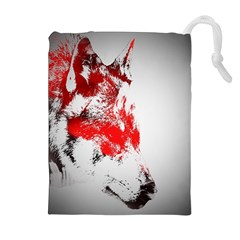 Red Black Wolf Stamp Background Drawstring Pouches (extra Large)