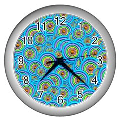Digital Art Circle About Colorful Wall Clocks (Silver)