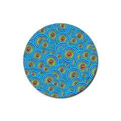 Digital Art Circle About Colorful Rubber Round Coaster (4 pack)