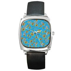 Digital Art Circle About Colorful Square Metal Watch