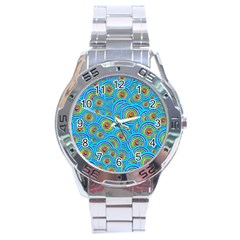 Digital Art Circle About Colorful Stainless Steel Analogue Watch