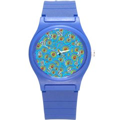Digital Art Circle About Colorful Round Plastic Sport Watch (S)
