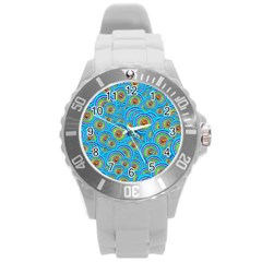 Digital Art Circle About Colorful Round Plastic Sport Watch (l)