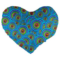 Digital Art Circle About Colorful Large 19  Premium Heart Shape Cushions