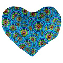 Digital Art Circle About Colorful Large 19  Premium Flano Heart Shape Cushions