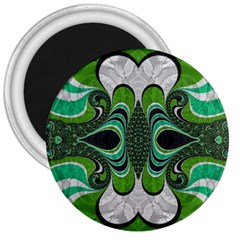 Fractal Art Green Pattern Design 3  Magnets