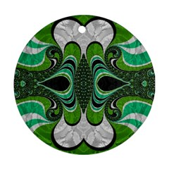 Fractal Art Green Pattern Design Ornament (round)