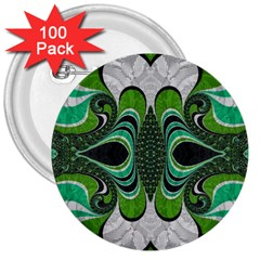 Fractal Art Green Pattern Design 3  Buttons (100 Pack)