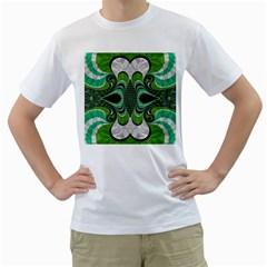 Fractal Art Green Pattern Design Men s T-Shirt (White) (Two Sided)
