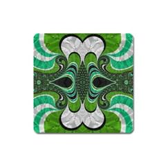 Fractal Art Green Pattern Design Square Magnet