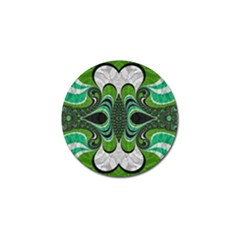 Fractal Art Green Pattern Design Golf Ball Marker (4 pack)