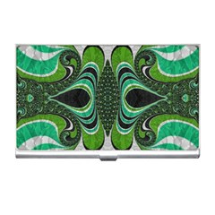 Fractal Art Green Pattern Design Business Card Holders