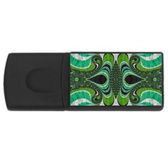 Fractal Art Green Pattern Design USB Flash Drive Rectangular (2 GB)