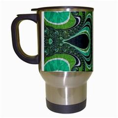 Fractal Art Green Pattern Design Travel Mugs (white)