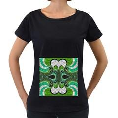 Fractal Art Green Pattern Design Women s Loose Fit T Shirt (black)