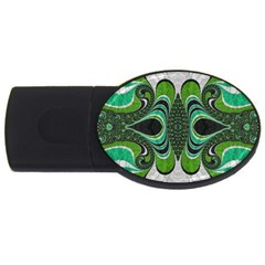 Fractal Art Green Pattern Design Usb Flash Drive Oval (4 Gb)