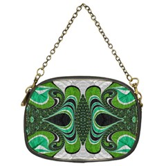 Fractal Art Green Pattern Design Chain Purses (one Side)