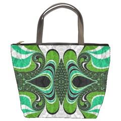 Fractal Art Green Pattern Design Bucket Bags