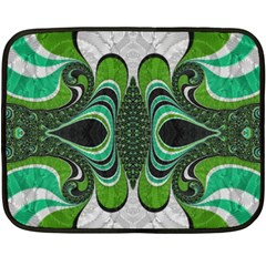 Fractal Art Green Pattern Design Double Sided Fleece Blanket (mini)